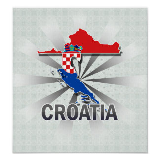 Croatia Flag Map 2.0 Poster