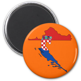 Croatia flag map 2 inch round magnet