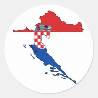 Croatia flag map classic round sticker