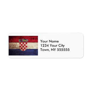 Croatia Flag on Old Wood Grain Label