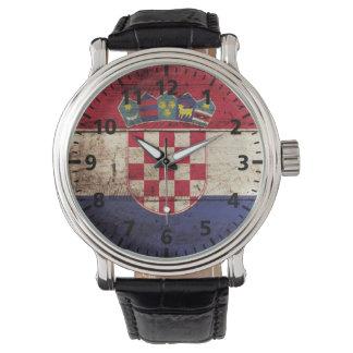 Croatia Flag on Old Wood Grain Wristwatch
