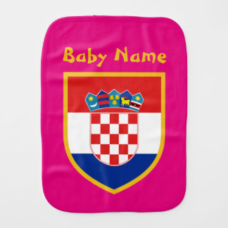 Croatia Flag Personalized Burp Cloth