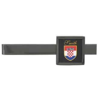 Croatia Flag Personalized Gunmetal Finish Tie Bar