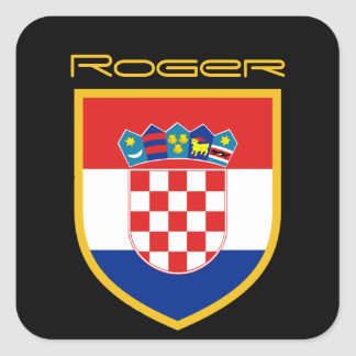 Croatia Flag Personalized Square Sticker
