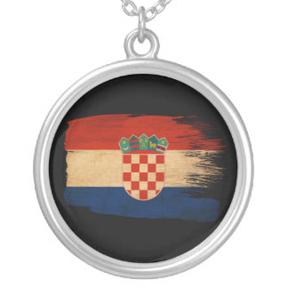 Croatia Flag Round Pendant Necklace