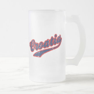 Croatia Frosted Glass Beer Mug