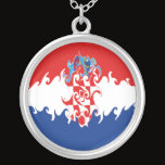 Croatia Gnarly Flag Silver Plated Necklace