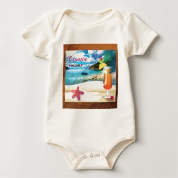 Beach Themed Croatia Holidays Baby Bodysuit