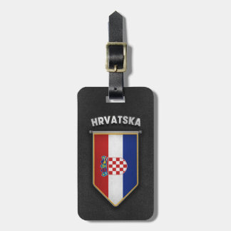 Croatia Pennant with high quality leather look Luggage Tag