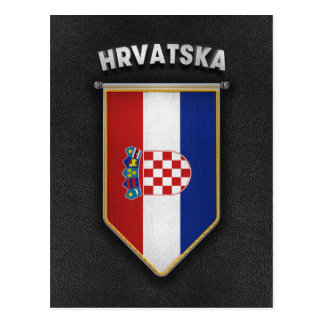 Croatia Pennant with high quality leather look Postcard