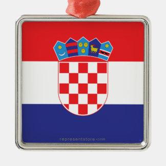 Croatia Plain Flag Metal Ornament