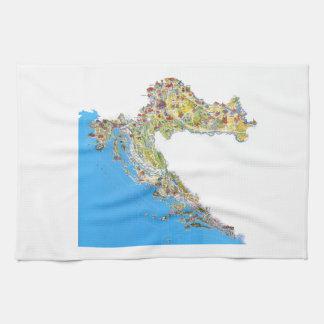 Croatia touristic map, hrvatska turistička mapa kitchen towel