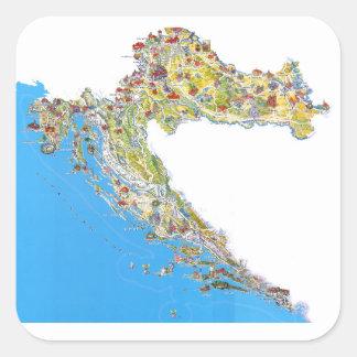 Croatia touristic map, hrvatska turistička mapa square sticker