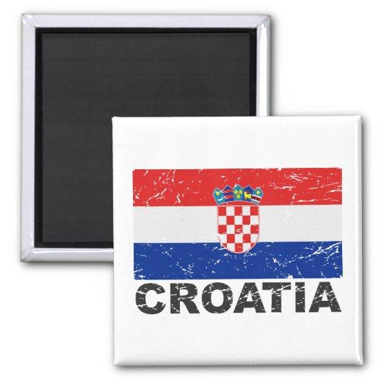 Croatia Vintage Flag 2 Inch Square Magnet
