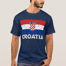 Croatia Vintage Flag T-shirt at Zazzle