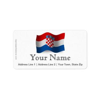 Croatia Waving Flag Label