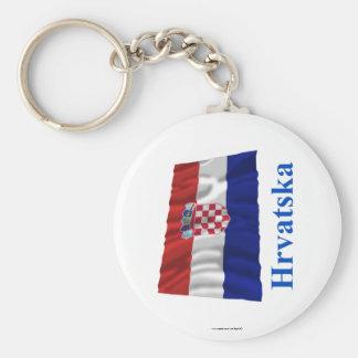 Croatia Waving Flag with Name in Croatian Keychain