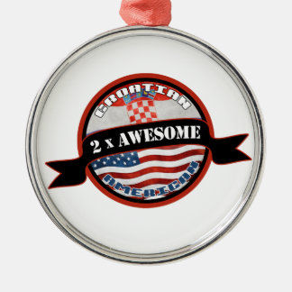 Croatian American 2x Awesome Metal Ornament