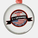 Croatian American 2x Awesome Round Metal Christmas Ornament