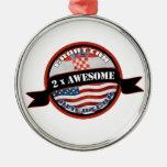 Croatian American 2x Awesome Ornaments