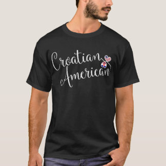 Croatian American Entwinted Hearts T-Shirt
