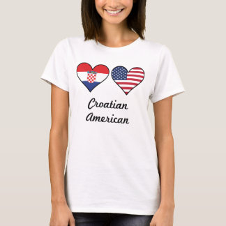 Croatian American Flag Hearts T-Shirt