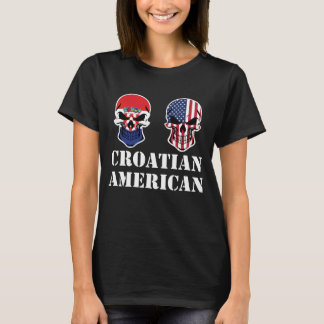 Croatian American Flag Skulls T-Shirt