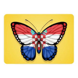 "Croatian Butterfly Flag on Yellow 5"" X 7"" Invitation Card"