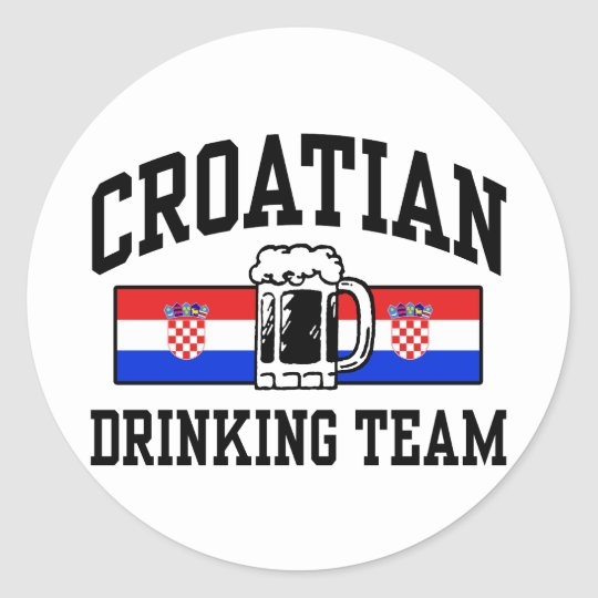 Croatian Drinking Team Classic Round Sticker