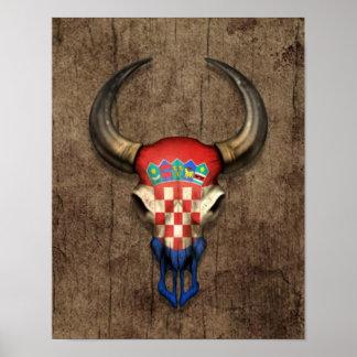 Croatian Flag Bull Skull on Wood Effect Poster