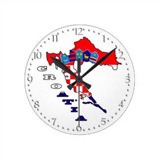 Croatian Flag in Map Round Clock