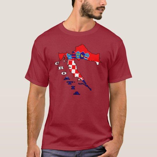 Croatian Flag in Map T-Shirt