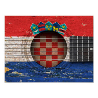 Croatian Flag on Old Acoustic Guitar Poster