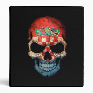 Croatian Flag Skull on Black 3 Ring Binder