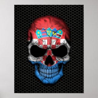 Croatian Flag Skull on Steel Mesh Graphic Poster