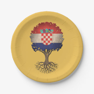 Croatian Flag Tree of Life Customizable 7 Inch Paper Plate