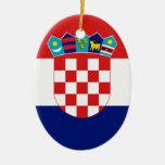 Croatian flag - Trobojnica Double-Sided Oval Ceramic Christmas Ornament