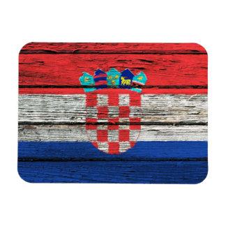 Croatian Flag with Rough Wood Grain Effect Magnet