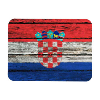 Croatian Flag with Rough Wood Grain Effect Rectangular Photo Magnet