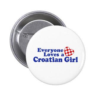 Croatian Girl 2 Inch Round Button