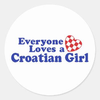 Croatian Girl Classic Round Sticker