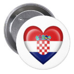 Croatian Heart Flag on White Buttons