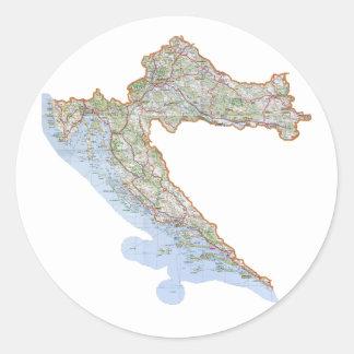 Croatian map classic round sticker