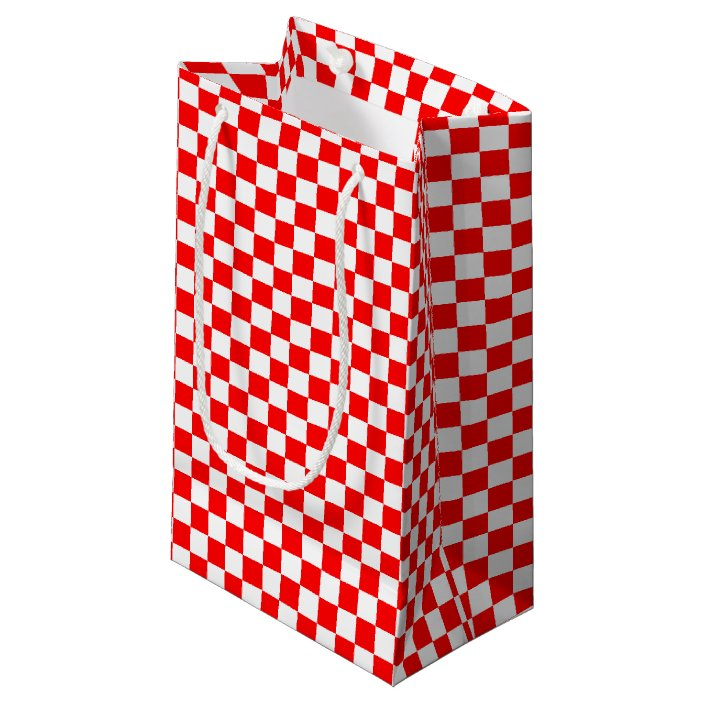 Red & White Checkers Small Gift Bag