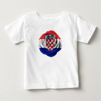 Croatian Rose Flag on Black Baby T-Shirt