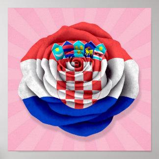 Croatian Rose Flag on Pink Poster