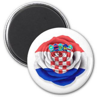 Croatian Rose Flag on White Magnet