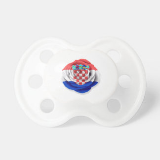 Croatian Rose Flag on White Baby Pacifier