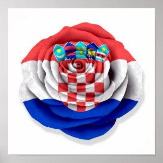Croatian Rose Flag on White Poster