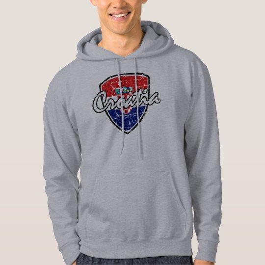 Croatian shield distressed flag hoodie